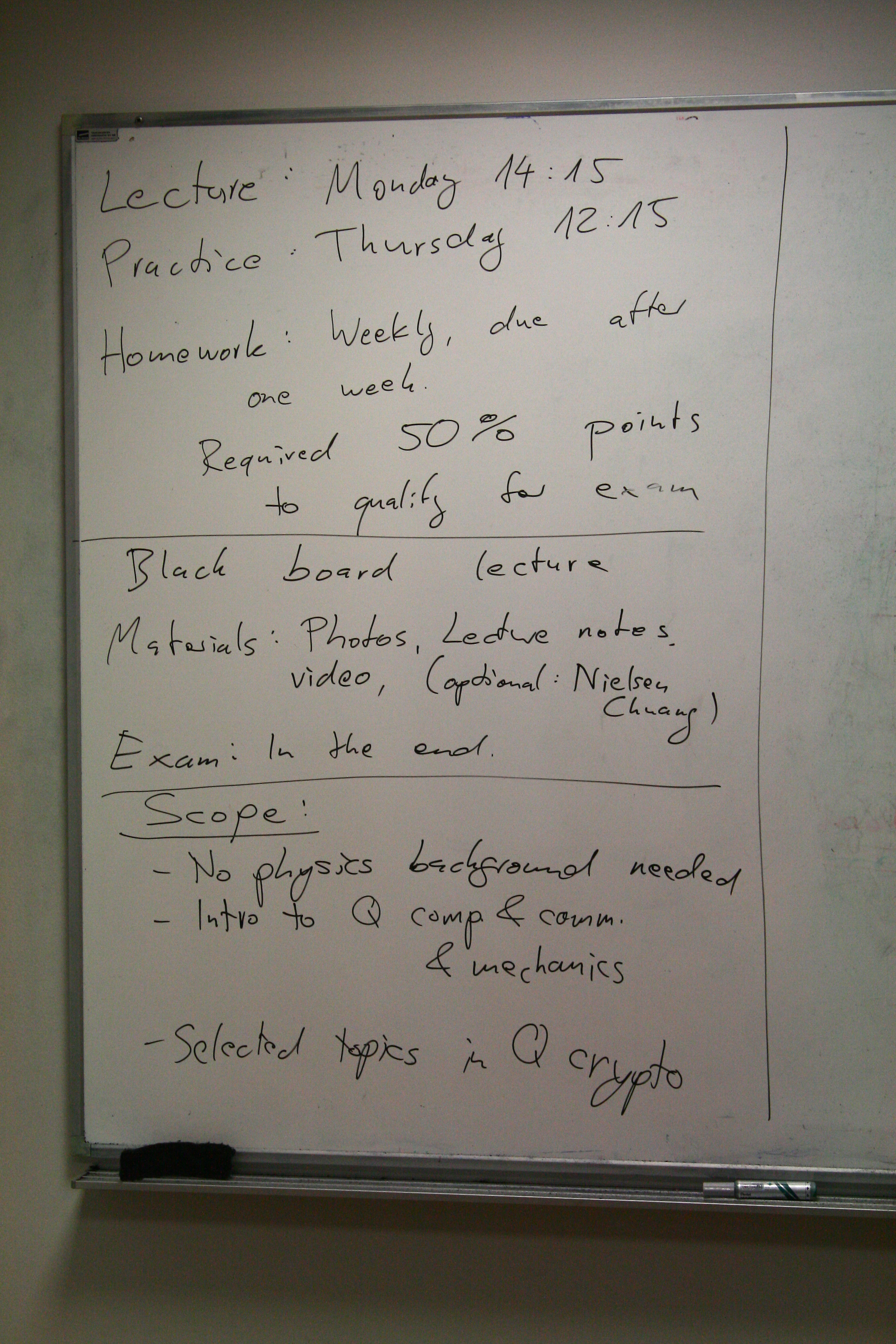 Quantum Cryptography fall 2015 - Black board photos
